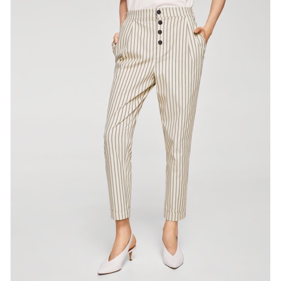 7e2400d8f1 Mango Straight Striped Trousers